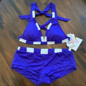 Becca Stripe Trim Girl Short Halter Bikini Set